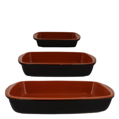 Coli Bakeware CL-REC-SET3-BR Italian Ceramic 3-Piece Rectangular Baker Set, Brown