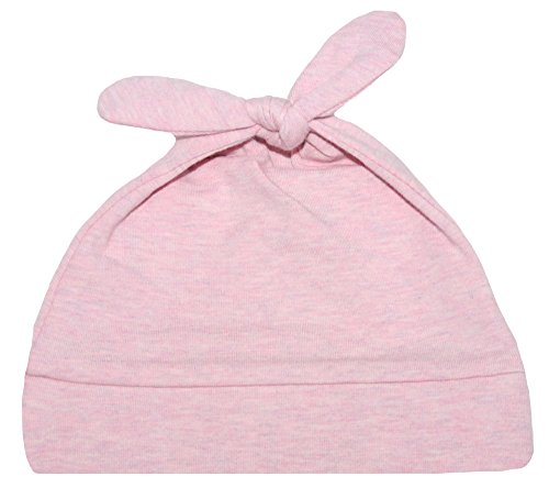 Woombie Cotton Double Knot Beanie Hats, Pink Posey Heathered, 0-6m