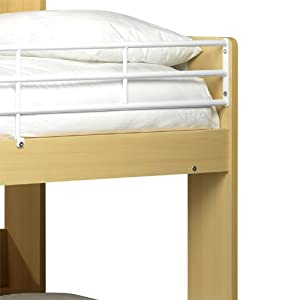 Happy Beds Sleep Station Domino Maple and White Finished Childrens Kids Bunk Bed Memory Foam Mattress 3' Single 90 x 190 cm
