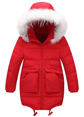 SMITHROAD Kinder Mädchen Daunenjacke Warmer Schneeanzug Winter Mantel mit abnehmbar Echtpelz Rot Gr. 146/152