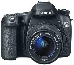 Canon 70D Appareil photo numérique Réflex Kit Boîtier + Objectif 18-55 Mm IS 20,9 Mpix Noir