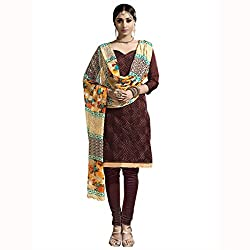 Parisha Latest Brown Embroidered Dress Material