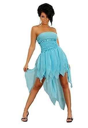 Vokuhila kleid chiffon minikleid bandeau zipfelrock zweilagig aqua ballkleid - Vokuhila kleid chiffon ...