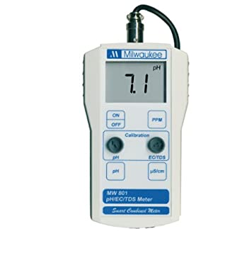Milwaukee MW801 LED Economy Portable pH/EC/TDS Meter with 1 Point Manual Calibration, 0.0 to 14.0 pH, +/-0.2 pH Accuracy, +/-0.1 pH Resolution