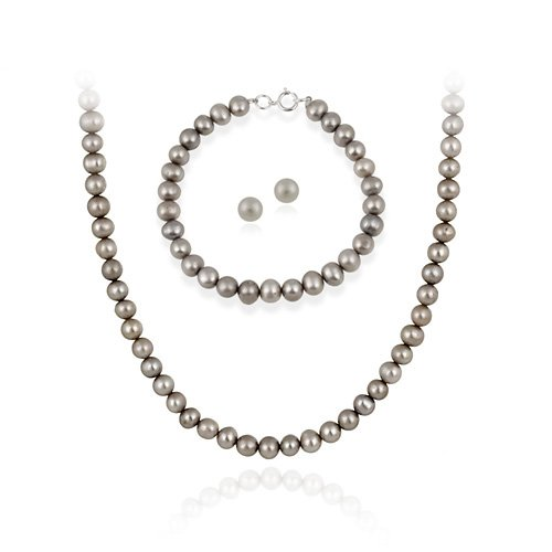 Sterling Silver 5.5-6mm Genuine Freshwater Cultured Grey Pearl Necklace Bracelet & Stud Earrings Set