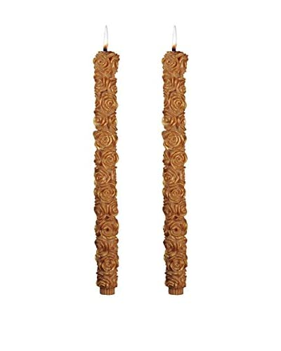 Volcanica Set of 2 Flora Taper Candles, Caramel/Gold