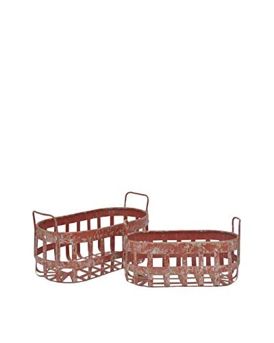 Three Hands Set of 2 Metal Baskets, Red