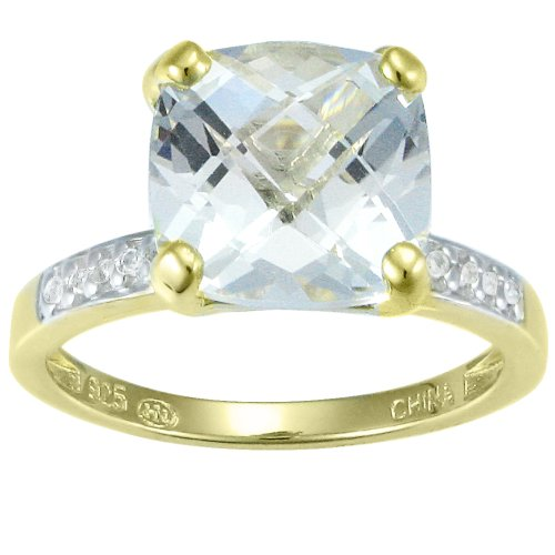 18k Gold Over Sterling Silver White Topaz and Diamond Accent Ring, Size 8