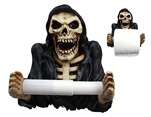 Skeleton Toilet Paper Holder Grinning Grim Reaper Skeleton Paper Holder