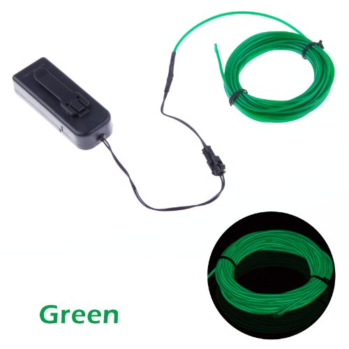 Lemonbest® 5 Meter 15Ft Portable El Wire Neon Glowing Strobing Electroluminescent Wire For Parties Green