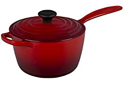 Le Creuset of America Enameled Cast Iron Sauce Pan, 2 1/4-Quart, Cerise (Cherry Red)