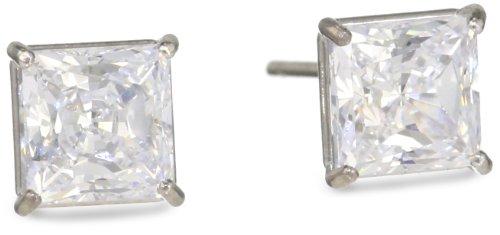 Madison Avenue Collection 10k White Gold Swarovski Cubic Zirconia Princess-Cut Stud Earrings (1 cttw)
