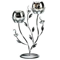 Gifts & Decor Silver Tulip Candle Holder Candelabra Stand Centerpiece