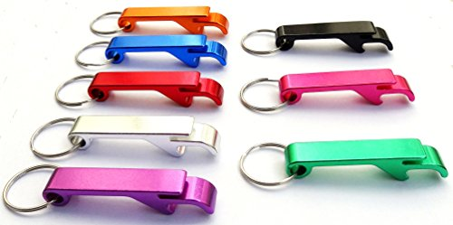 Sunshine Serafina 8pcs Pocket Key Chain Beer Bottle Opener Claw Bar Small Beverage Keychain Ring