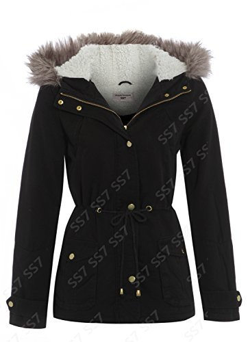 Black OVERSIZED HOOD Parka Womens Coat Sizes 8 - 16 (10)