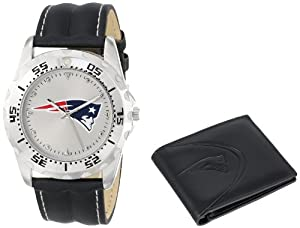Game Time Unisex NFL-WWS-NE Wallet and New England Patriots NHL Watch Set by Game Time