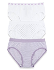 3 Pack Seamfree Heart & Striped Bikini Knickers