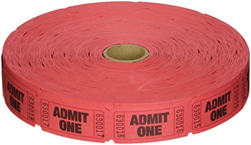2000 Red Admit One Single Roll Consecutively Numbered Raffle Tickets (Admit One Ticket Roll compare prices)