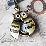 Flappy Wings Owl Locket Watch Necklace - BONUS PACK with Pin Badge and Gift Wrap by Baby Loves Pink FROM Y2B