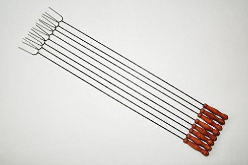 8 Brochettes avec très longue brosse de nettoyage! très solide extra-grandes brochettes à brochettes avec fourche, gabelspieß-couverts à würstchenhalter würstchenzange wurstzange (attention : non télescopique, mais ferme (solide) de la forme en acier forgé), idéal pour picnics4fun kit, raclettes, fourchette, long-longueur par broche : schaschlikspieße, couverts (fourchette, spatule pour barbecue, spatule pour barbecue, etc.