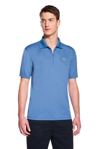 Short Sleeve Classic Fit Solid Super Dry Polo With Zip Placket