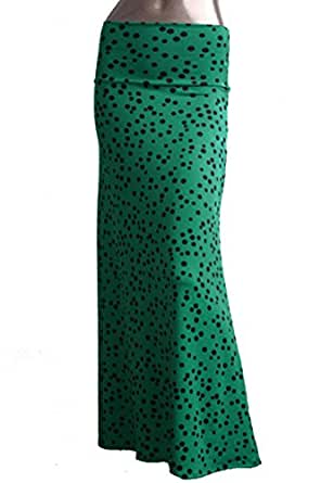 Women's Maxi Skirt -Stretchy, Soft Fabric (Small, Green Polka Dot)