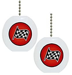 Set of 2 Checkered Flag Solid CERAMIC Fan Pulls