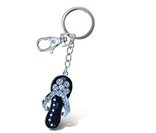 Puzzled Black Flip Flop Sparkling Charm Keychain