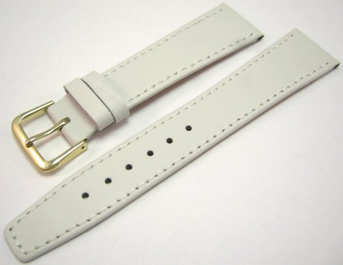 White Leather Watch Strap Band With A Stitched Edging And Nubuck Lining 20mm