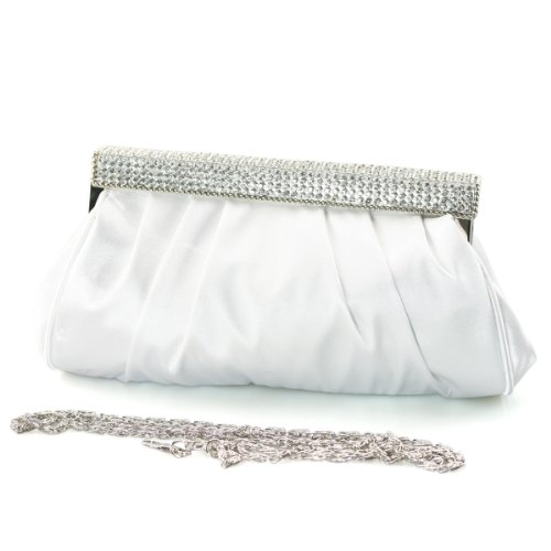 Shoezy 2013 Trend Womens Satin Ruched Rhinestones Clutch Purse Bag With Chain