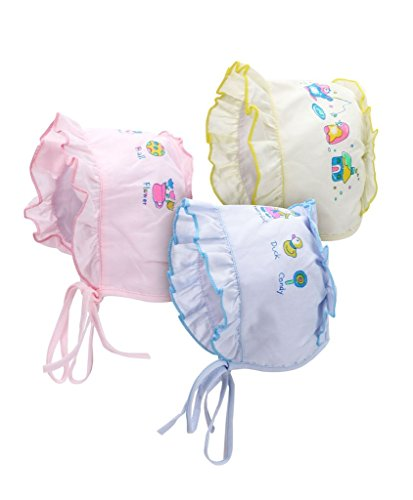 A'la Mode Creation Baby Bonnets Caps Set of 3 (Age 0- 3months) (Design/Print/Color may vary)