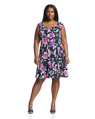 London Times Plus Women's Floral Print Fit-and-Flare Dress