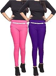 Xarans Stylish Pink & Purple Cotton Lycra Zip Jegging Set of 2 Pcs
