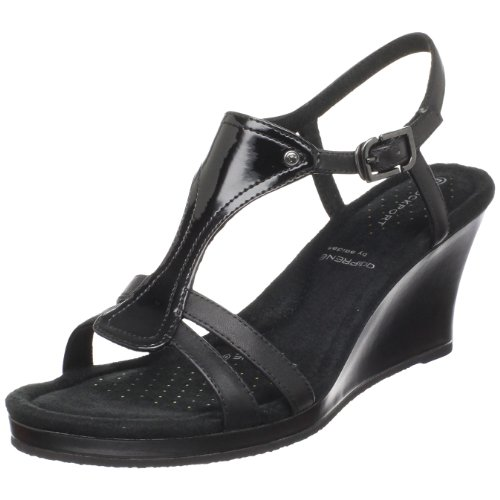 Rockport Women's Emily T Strap Wedge Black Heel K57359 7 UK