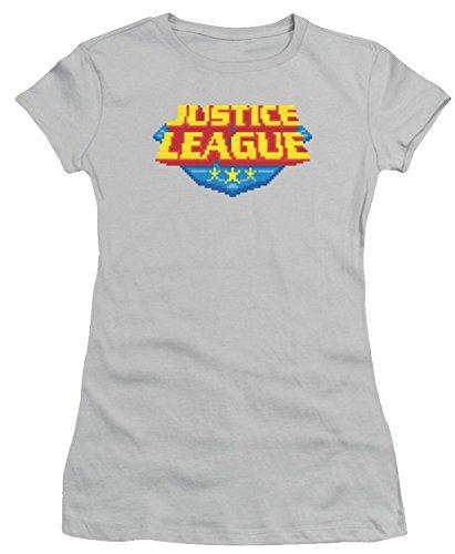 Justice League 8 Bit Logo Ladies Junior Fit T-Shirt