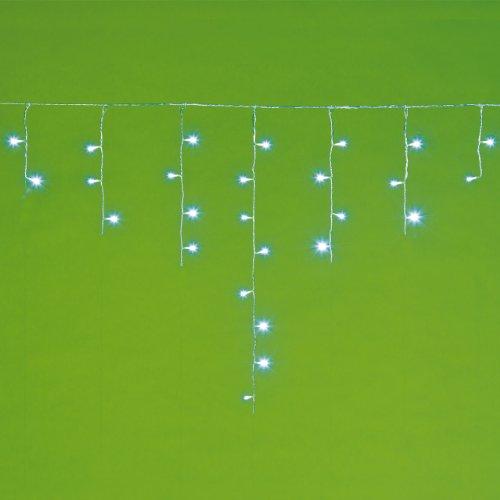 LED-Eiszapfen-Lichterkette EX, 2,5 x 0,8 m, 48 Leds kaltweiß, mit Lichtspielen, transparentes Kabel, Weihnachtsbeleuchtung, Eisregen Lichterkette