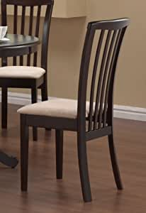 Set Of 2 Dining Chairs Microfiber Fabric Cappuccino Finish Kit