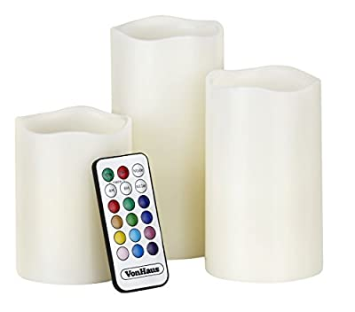 VonHaus Electric Candles - 3 x Flameless Battery Operated Real Wax Pillars - 12 LED Color Settings, Remote Control & Timer (Ivory Color)