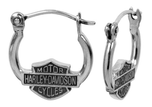 Harley-Davidson® MOD® Women's Bar & Shield Hoop Earrings w/ Stick Closure HDE0233