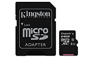 Kingston Digital 64 GB microSD Class 10 UHS-1 Memory Card 30MB/s with Adapter (SDCX10/64GBET)