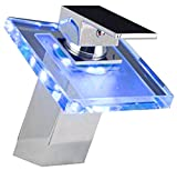 3 color LED light Temperature Sensitive LED Waterfall Faucet Chrome Finish