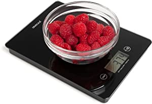 Digiscale® Digital Kitchen Food Scale - Black Tempered Glass 0.1 Oz Min. Weight Watchers Food Scale 11 Lbs. Max Grams Scale Compact Elegant Design Includes Bonus Guide Batteries and Satisfaction Guarantee