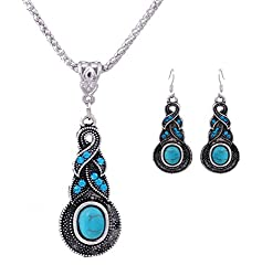 Sorella'z Tibetan Turquoise Water Drop Shaped Chain Necklace & Earrings Set