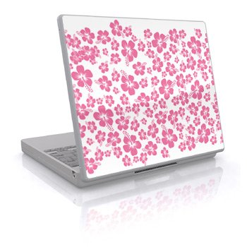 Pink Hibiscus Design Skin Decal Sticker Cover for Laptop Notebook Computer - 15