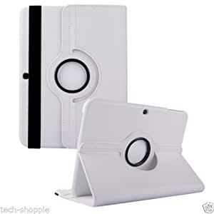 Cazcase 360 Degree Rotate Leather Cover Case For Samsung Galaxy Tab 4 10.1 T530 T531(white)