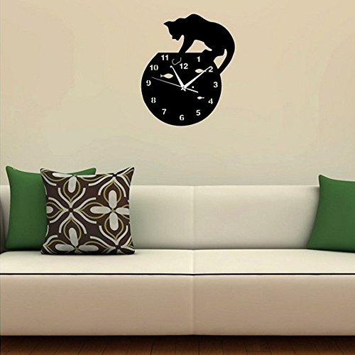 Forepin® Design Moderno Deluxe Tridimensionale 3D Orologi da Parete Sticker Decorativi Acrilico Plastica Specchio Numeri Murales Sticker Wall Watch Clock Casa Ufficio Hotel Ristorante Decorazione Modello 8 - Pesce