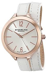 Stuhrling Original Women's 568.03 Deauville Sport Swiss Quartz White Leather Wrap Around Watch