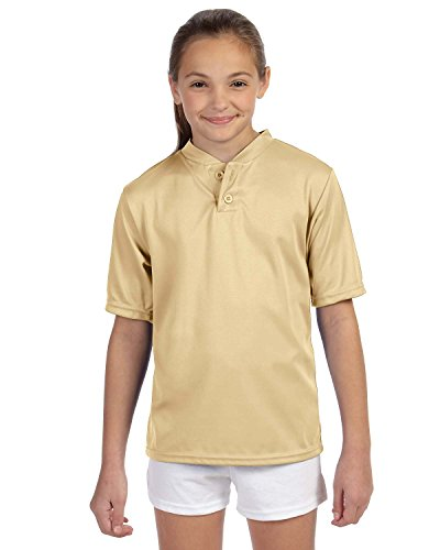 Augusta Big Boys Wicking Two-Button Jersey (427)- VEGASGOLD, L