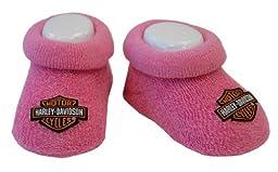 Harley-Davidson Baby Girl Pink Booties 0/3M