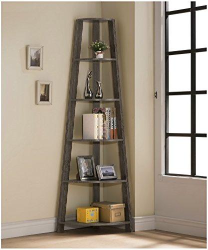 Weathered Grey Finish Wood Wall Corner 5-Tier Bookshelf Bookcase Accent Etagere